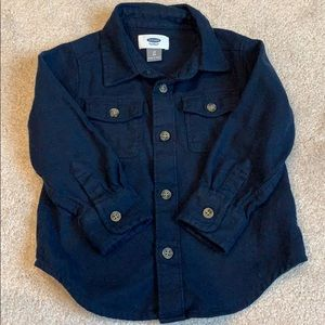 Old Navy Blue Brushed Twill Button Down - Size 2T